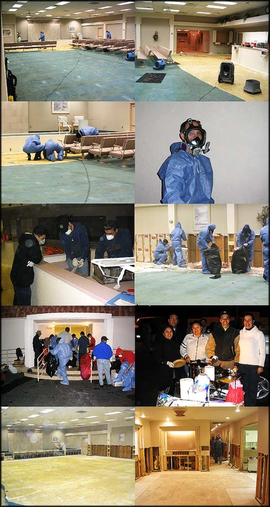 Thumbnails of brothers and sisters gathered to remove contaminated material from hall.